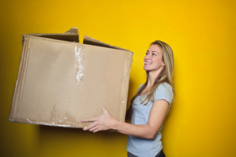 woman with a shipping package
