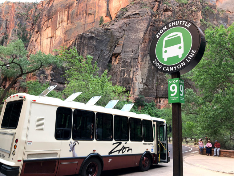 shuttle bus at zion national park