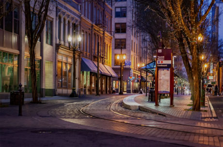 a street at night in Portland, OR