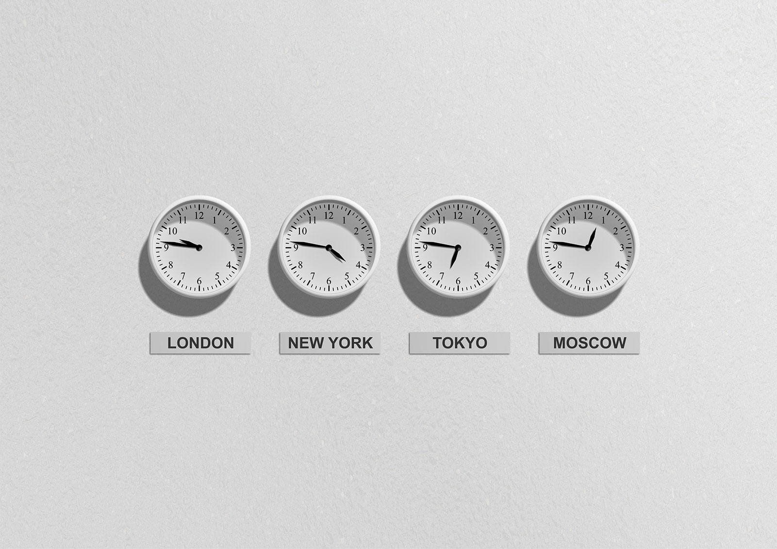 wall clocks for many time zones