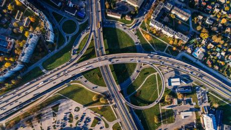 aerial view of freeways