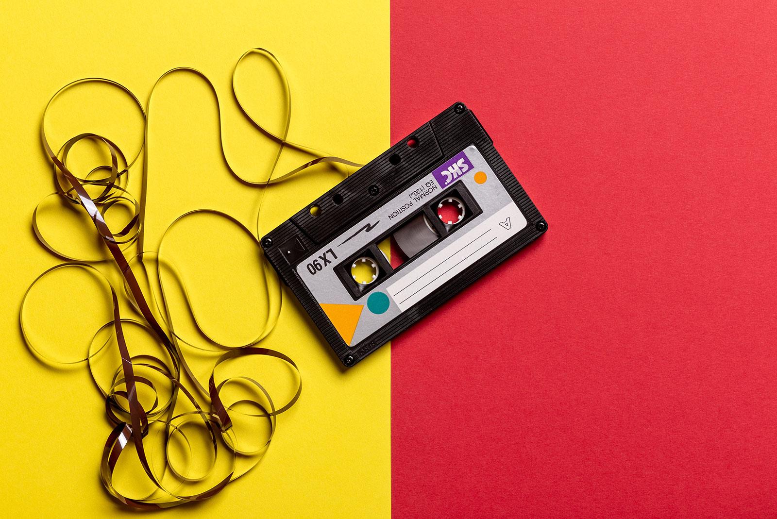 casette tape on color background