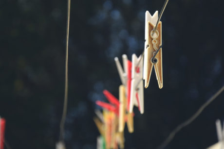 clothespins on a line