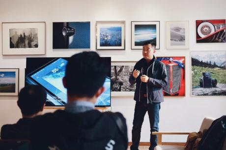 man making a presentation
